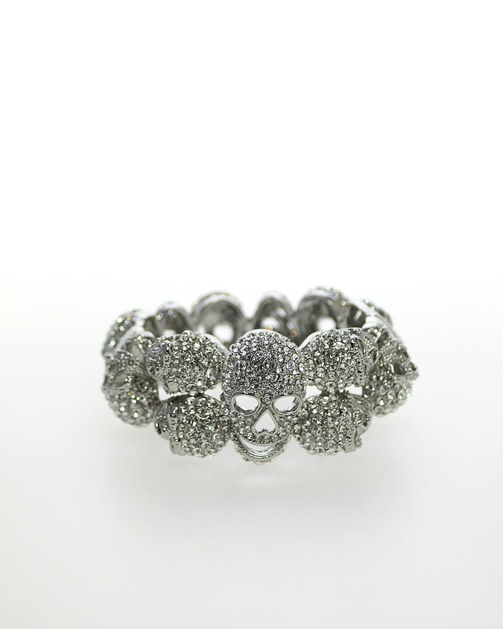 Izoa Silver Crystal Skull Bangle