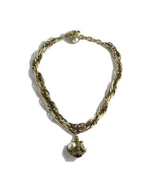 Izoa Detailed Chain and Charm Necklace Gold