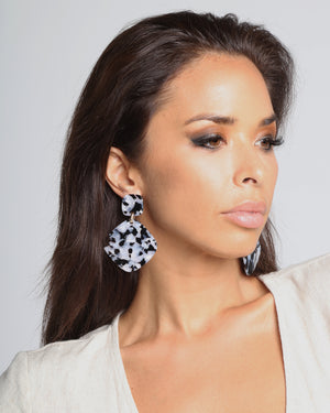 Izoa World Wide Earrings Black White Speckle