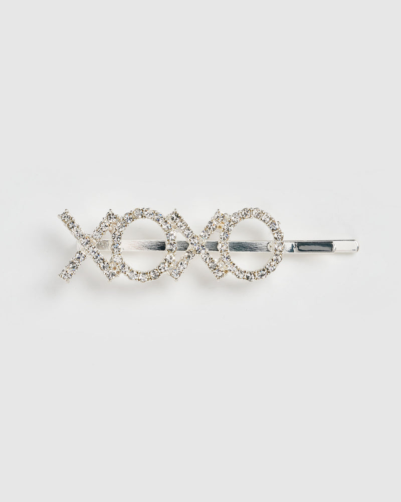 Izoa XOXO Hair Pin Silver Clear