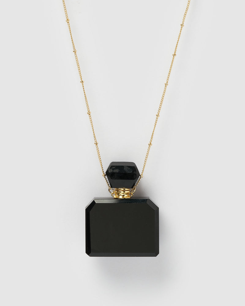 Miz Casa & Co Zella Necklace Perfume Bottle Black Gold