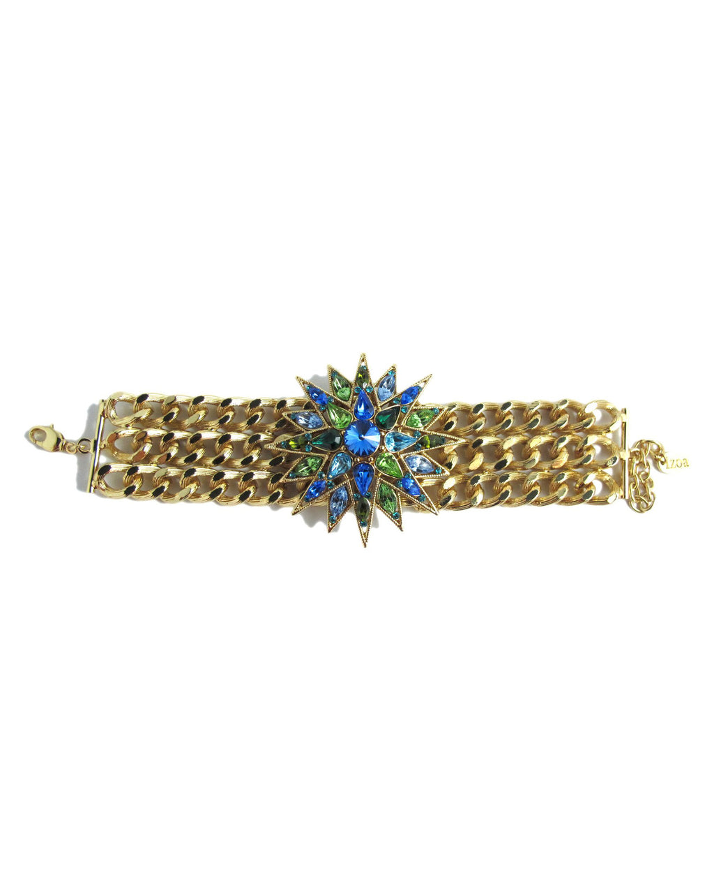Izoa Star Statement Bracelet Gold and Blue Green