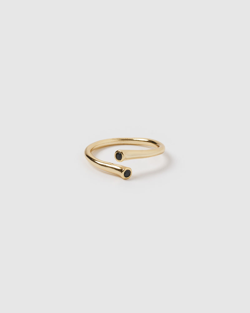 Izoa Devine Ring Gold Black Gemstone