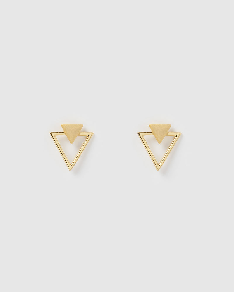 Izoa Geometric Earrings Gold