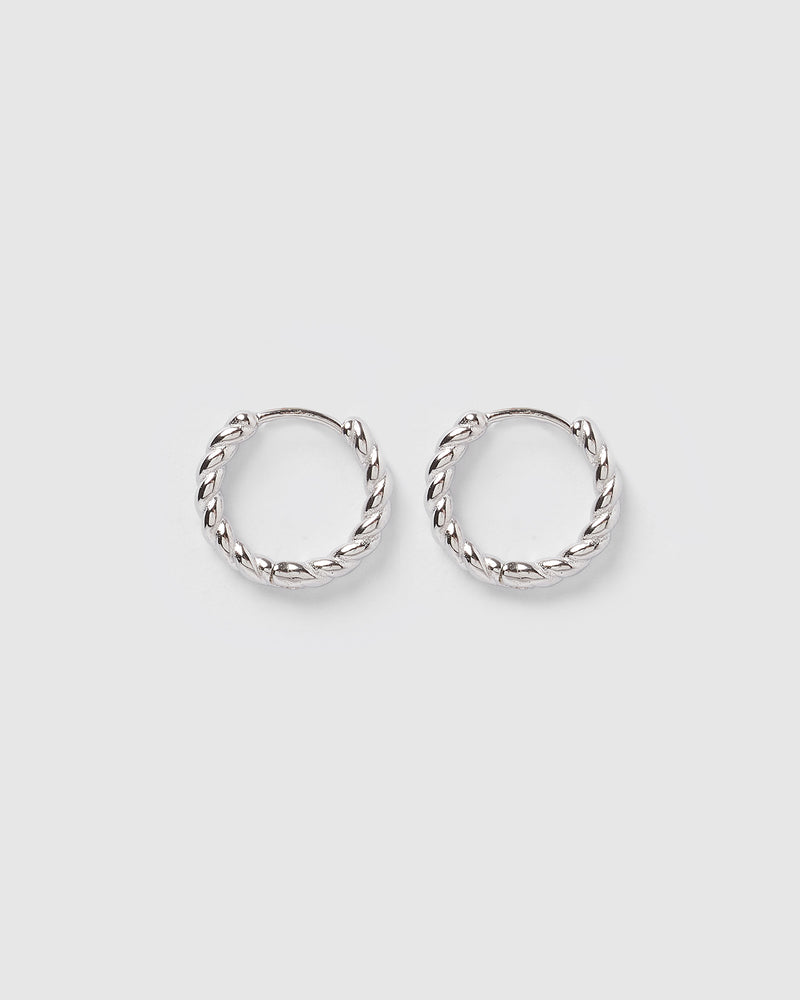 Izoa Gracie Huggie Earrings Silver