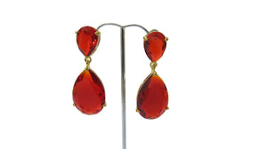Izoa Double Tear Drop Earrings Gold Red