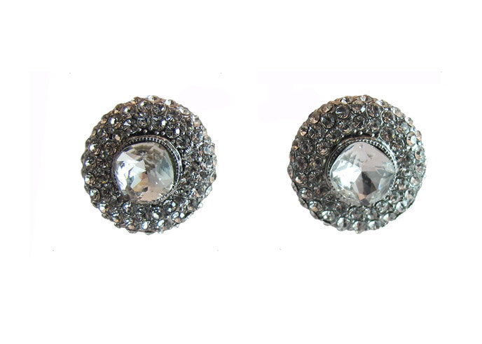 Izoa Round Detail Silver Clear Stud