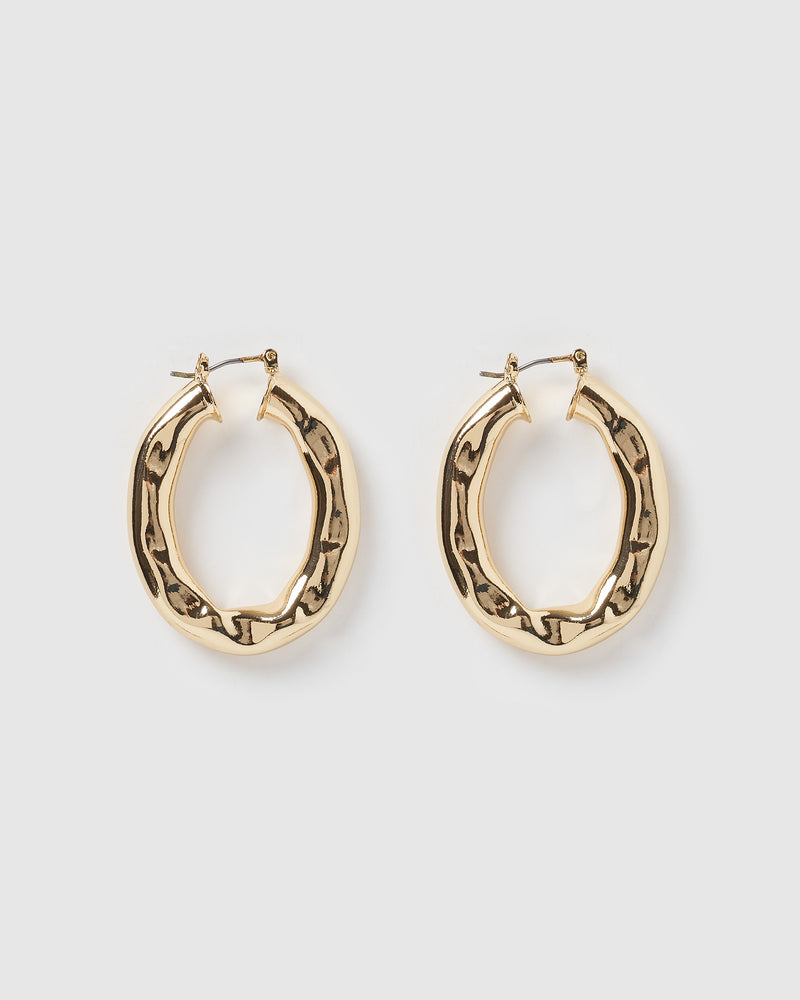 Izoa Indent Earrings Gold
