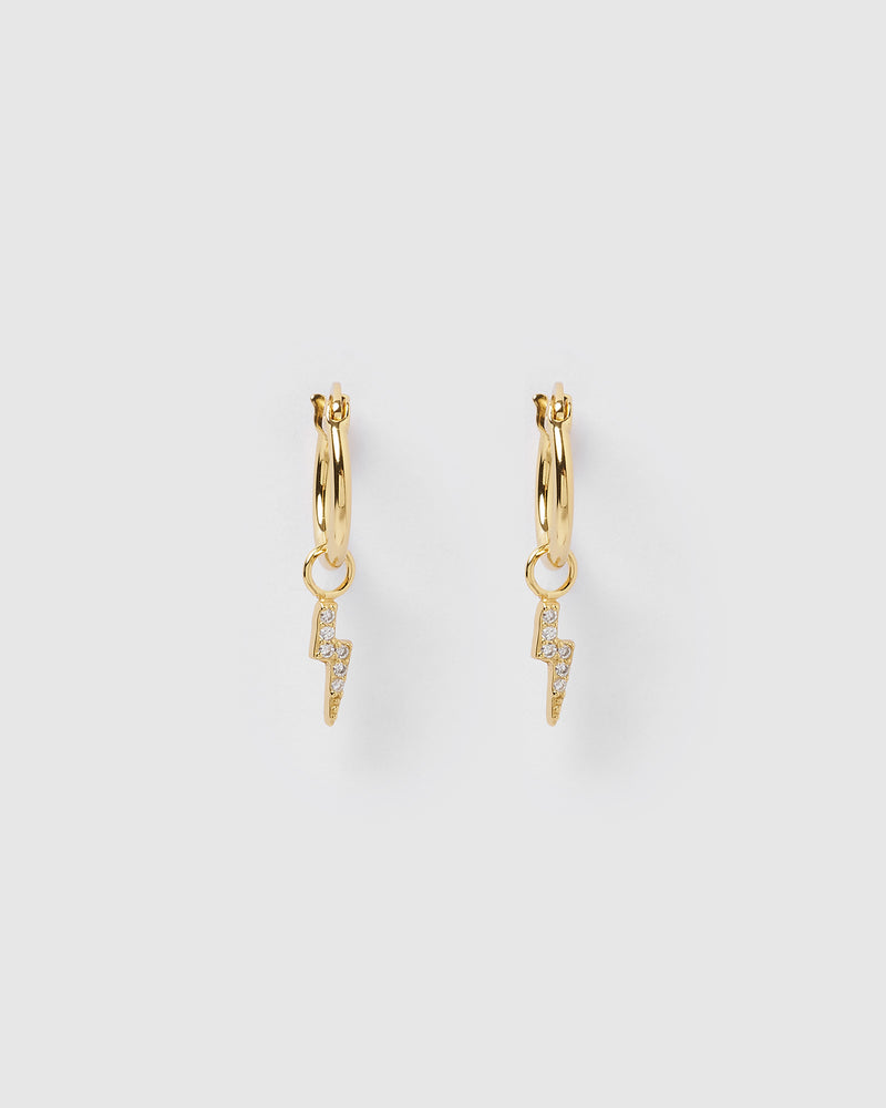 Izoa Lightning Bolt Huggie Earrings Gold