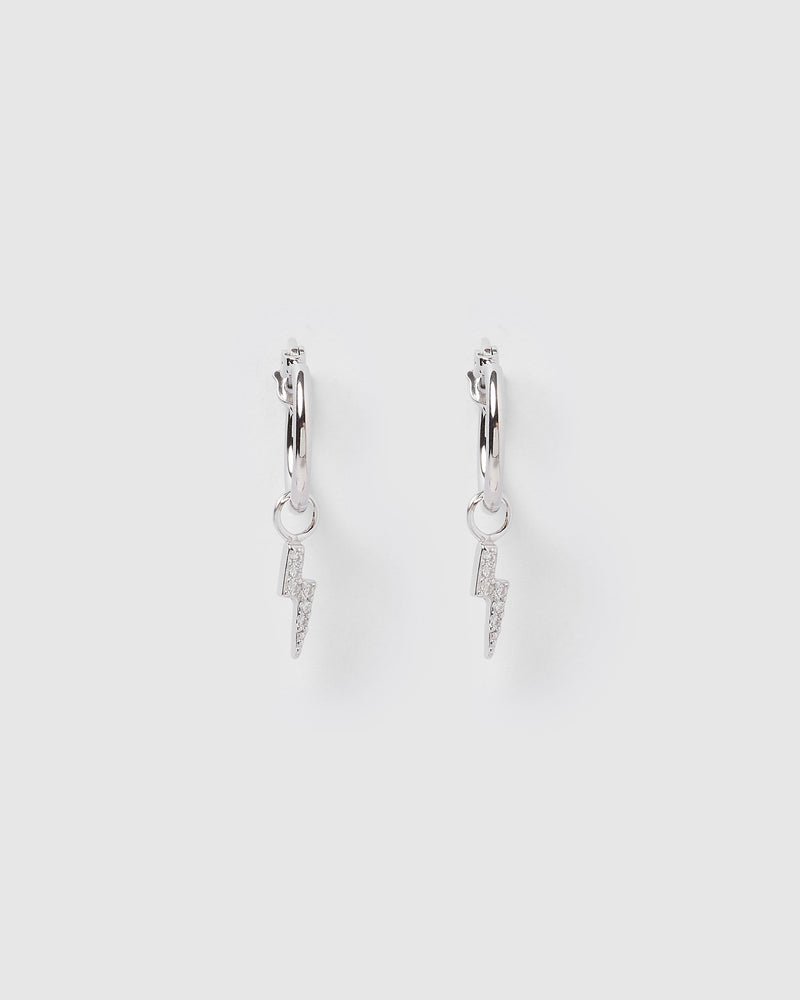 Izoa Lightning Bolt Huggie Earrings Silver