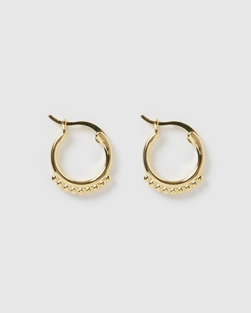 Izoa Mini Detail Huggie Earrings Gold