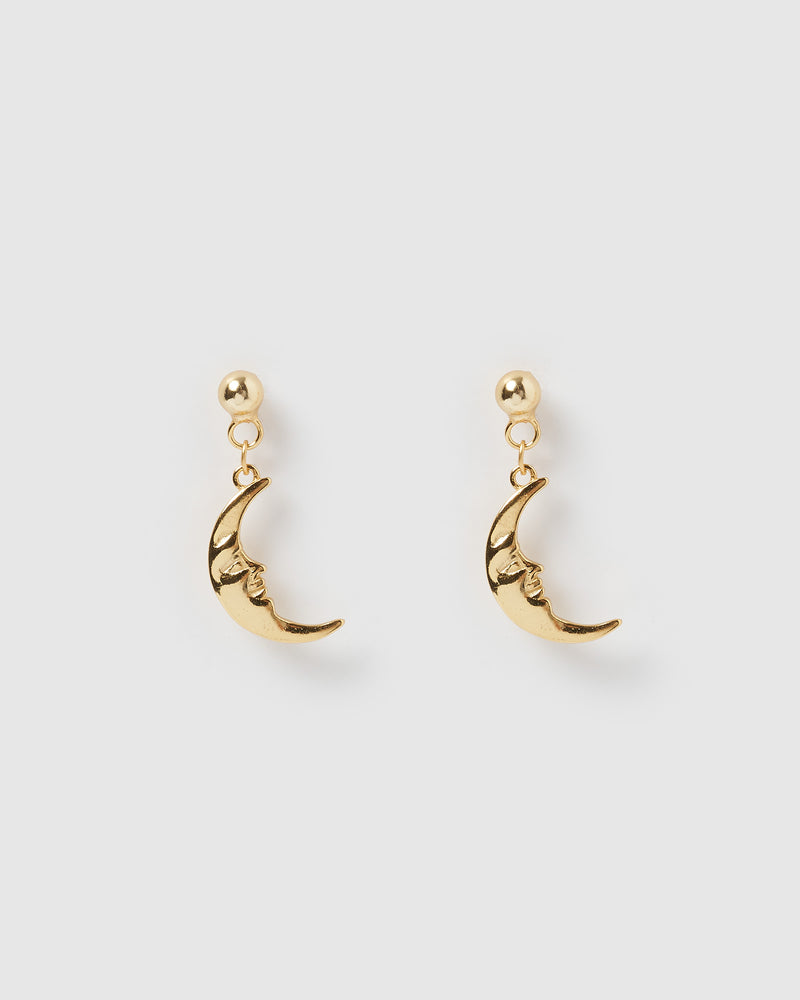 Izoa Mini Moon Earrings Gold