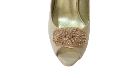 Izoa Rose Gold Art Deco Oval Shoe Clip