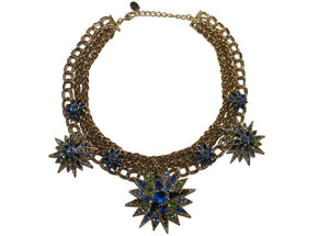 Izoa Star statement necklace gold and blue green