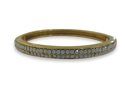 Izoa two row clasp crystal bangle gold with white opal