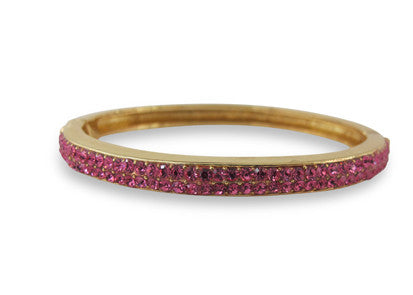 Izoa two row clasp crystal bangle gold with pink