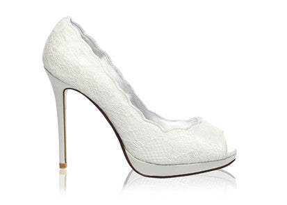 Izoa White Dress Peeptoe Pumps Ivory (SIZES 39 & 41 ONLY)