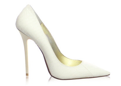 Izoa Pointy Pump Heels White