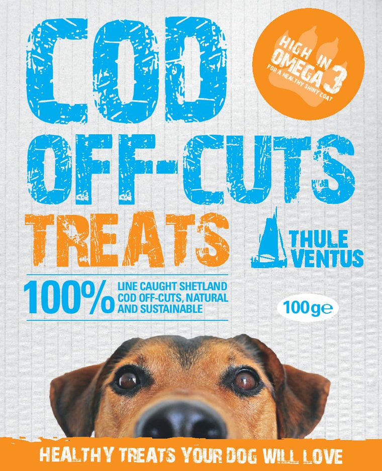 Dog Treats - 100% Dried Cod Off Cuts, 100 gram or 500 gram