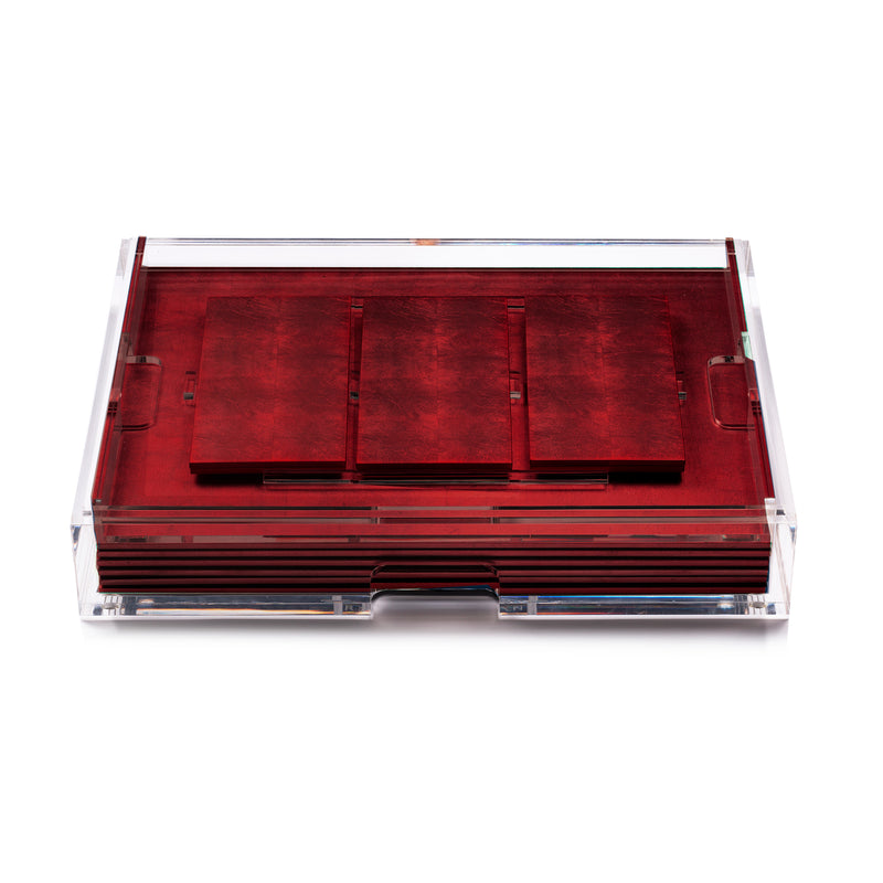 Grand Matbox Clear Silver Leaf Chic Matte Red