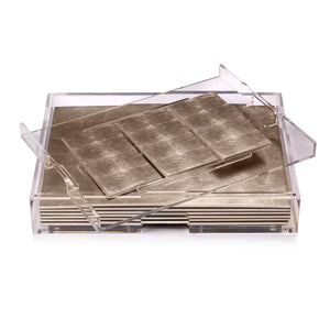 Grand Matbox Clear Silver Leaf Chic Matte Champagne - Posh Trading Company  - Interior furnishings london