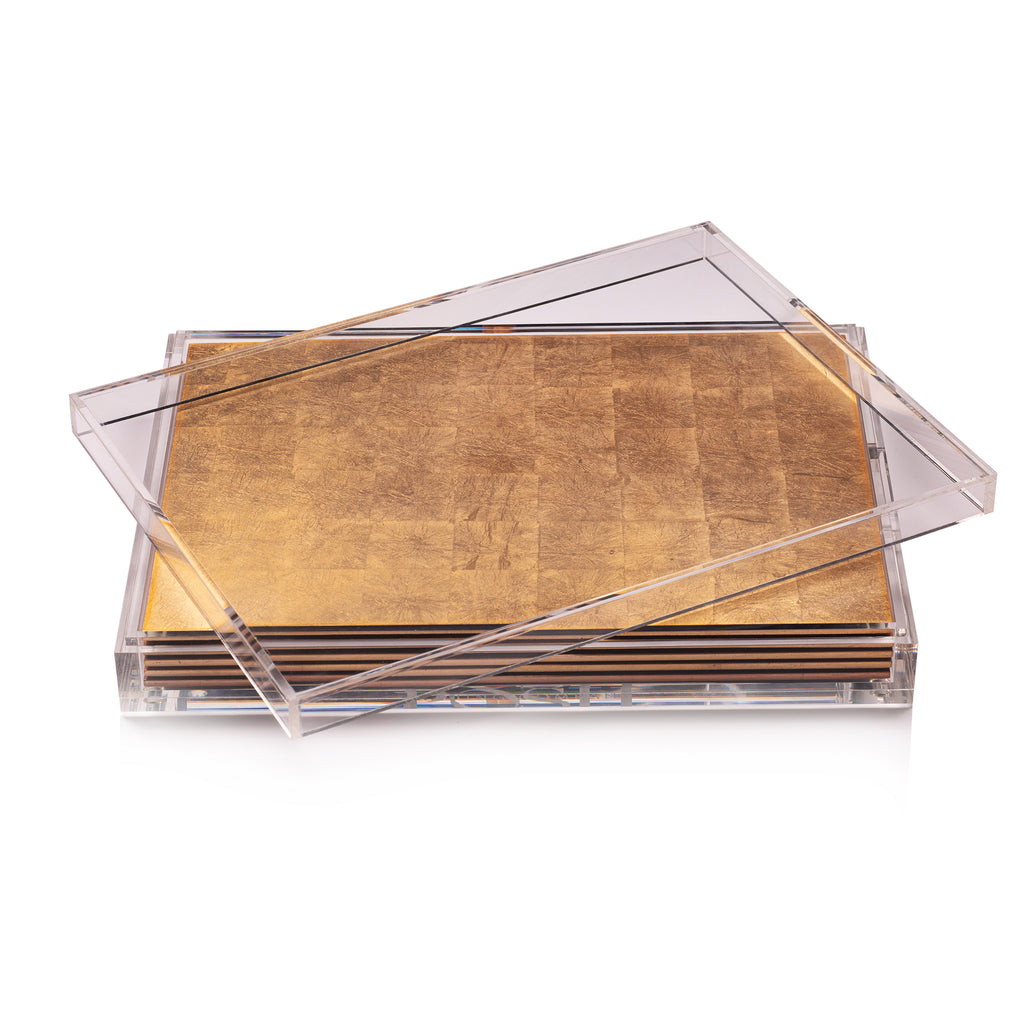 Servebox Clear Silver Leaf Gold - Posh Trading Company  - Interior furnishings london