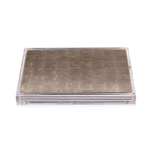 Servebox Clear Silver Leaf Chic Matte Champagne - Posh Trading Company  - Interior furnishings london