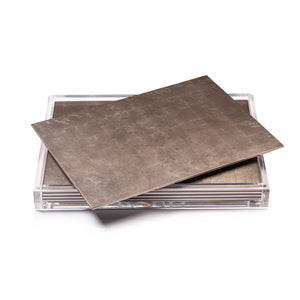 Servebox Clear Silver Leaf Chic Matte Taupe - Posh Trading Company  - Interior furnishings london