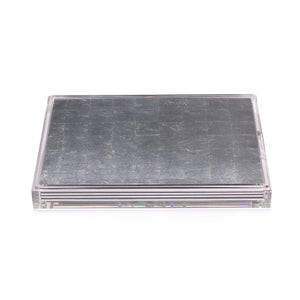 Servebox Clear Silver Leaf Chic Matte Silver - Posh Trading Company  - Interior furnishings london