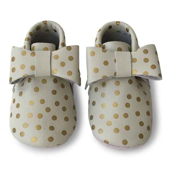 Mokkasiner - Bow Gold Dots Baby Sko