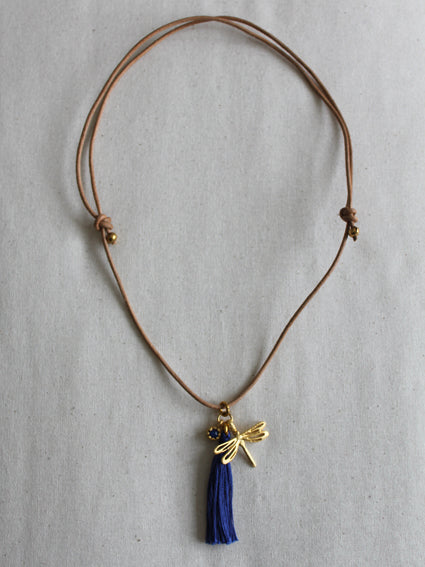 Dragonfly charm necklace, navy