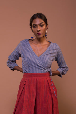 Wrap Blouse (Smoky Blue)