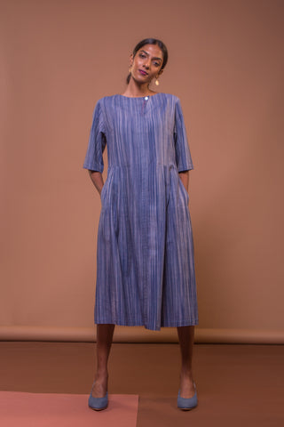 Knife Pleat Dress (Midnight Blue)