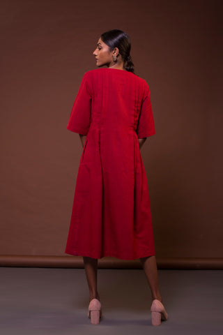 Knife Pleat Dress (Madder Red)