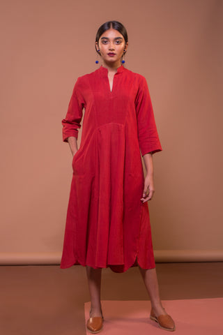 Patch Flare Dress (Madder Red)