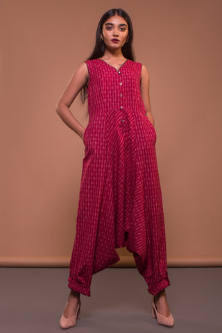 Dhoti Jumpsuit (Red Ikat)
