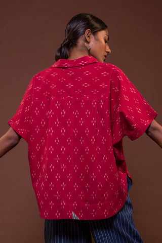 Artist's Poncho (Red Ikat)