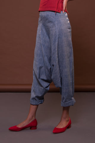 Sculpted Dhoti (Indigo)
