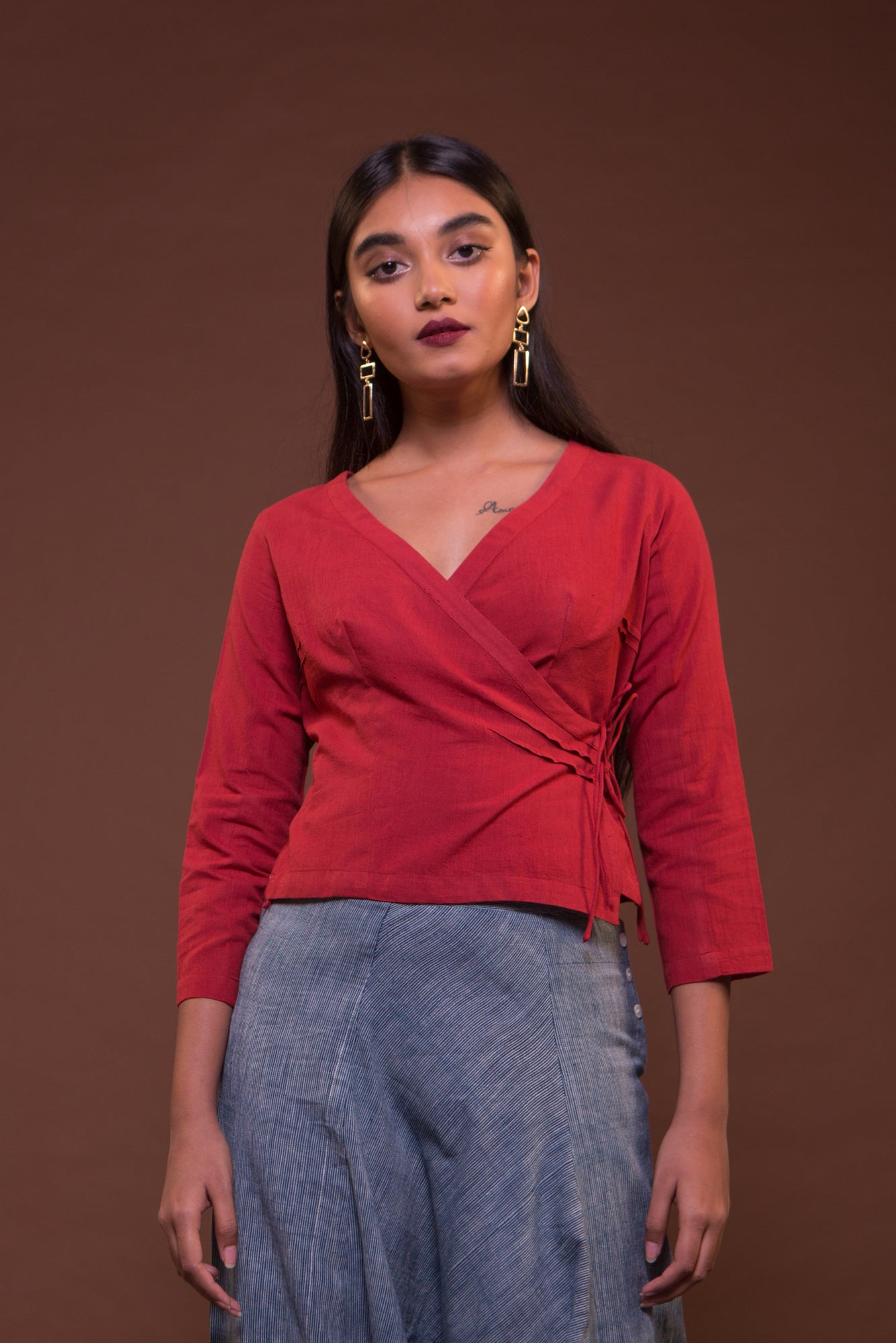 Wrap Blouse (Red)