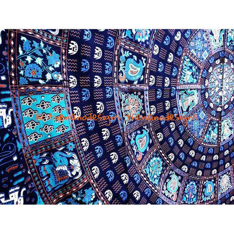 Blue Elephant Square Indian Tapestry Wall Hanging Mandala Bedspread Hippie Decor - TheNanoDesigns