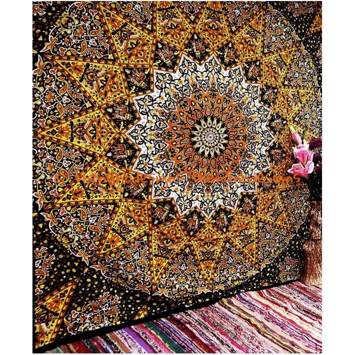 yellow black large tapestry wall hanging psychedelic star wall hanging