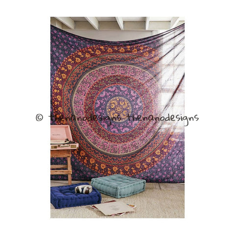 Beautiful Floral Mandala Handmade Wall Hanging Large Decorative Tapestry Hippie - TheNanoDesigns