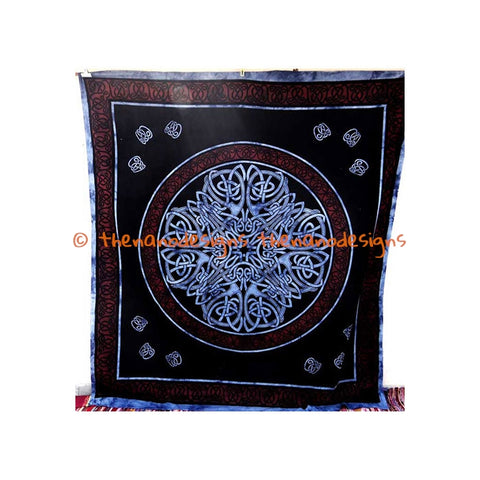 Black Purple Psychedelic Indian Mandala Tapestry Wall Hanging Room Decor - TheNanoDesigns