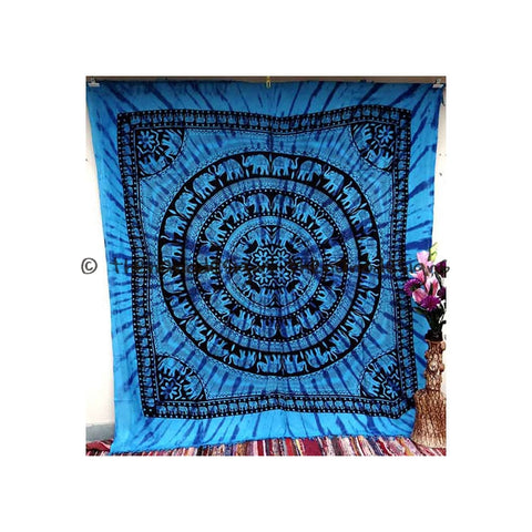 Blue Elephant Round Mandala Jhalar Bedspread Dorm Tapestry Wall Hanging - TheNanoDesigns