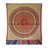 Brown Psychedelic Star Mandala Hippie Wall Hanging Dorm Decor Bedspread - TheNanoDesigns