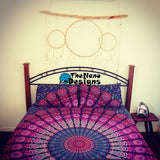 Pink Blue Feather Mandala Wall Hanging Bedspread Beach Throw - TheNanoDesigns