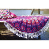 Pink Mandala Feather Roundie Beach Throw Bedspread Wall Hanging