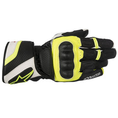 Alpinestars SPZ Drystar Waterproof Leather Motorcycle Gloves Black/White/Fluo - Alpinestars -  - MSG BIKE GEAR - 1