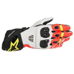 Alpinestars GP Pro R2 Leather Track Motorcycle Gloves - Black/White/Red/Fluo - Alpinestars -  - MSG BIKE GEAR - 1