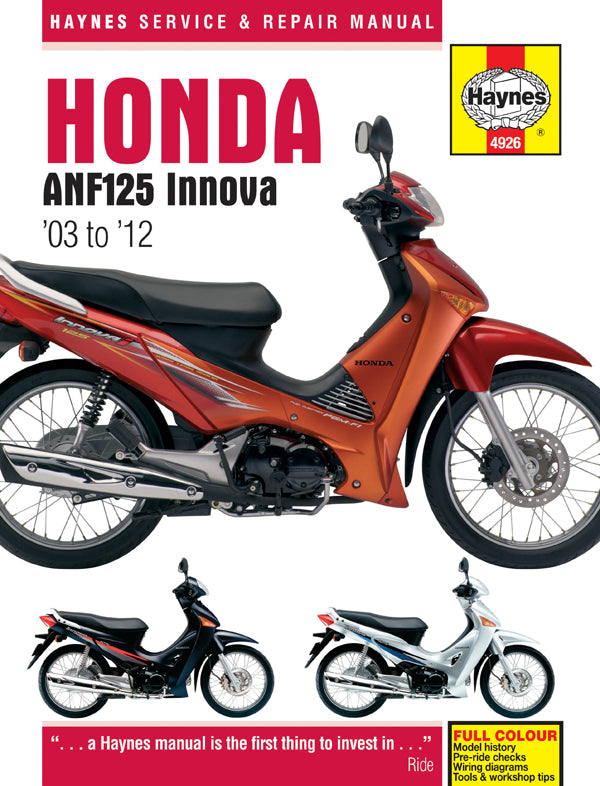 HAYNES 4926 HONDA ANF125 INNOVA SCOOTER (03-11) MANUAL new